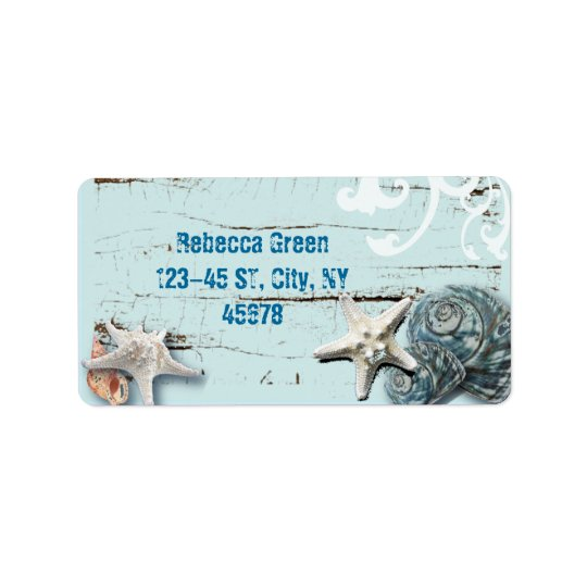Coastal barn wood aqua blue starfish seashells label
