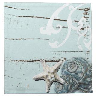 Coastal barn wood aqua blue starfish seashells napkin