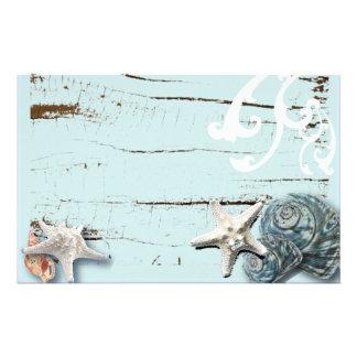 Coastal barn wood aqua blue starfish seashells personalised stationery