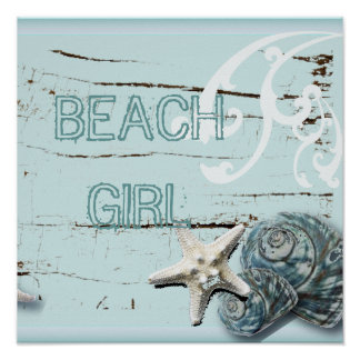 Coastal barn wood aqua blue starfish seashells poster