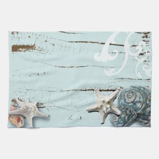 Coastal barn wood aqua blue starfish seashells tea towel