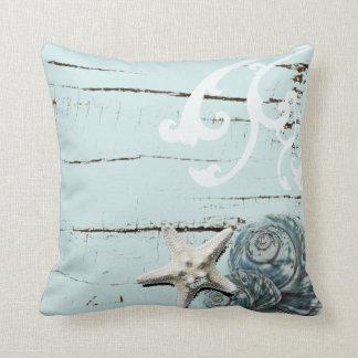 Coastal barn wood aqua blue starfish seashells throw pillow