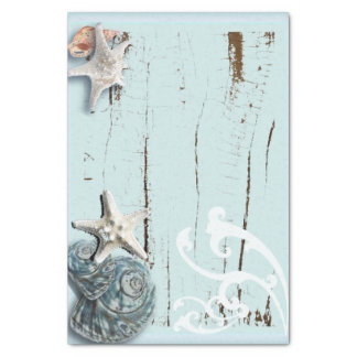 Coastal barn wood aqua blue starfish seashells tissue paper