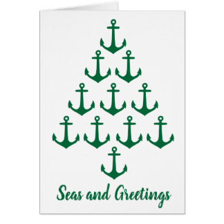 Coastal Beach Christmas Nautical Anchor Tree Card