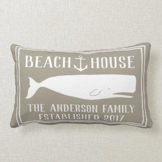 Coastal Beach House Anchor & Whale Family Name Lumbar Cushion
