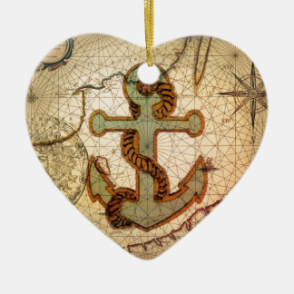 Coastal Beach Nautical Map vintage Anchor Christmas Ornament