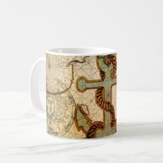 Coastal Beach Nautical Map vintage Anchor Coffee Mug