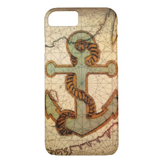 Coastal Beach Nautical Map vintage Anchor iPhone 8/7 Case