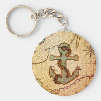 Coastal Beach Nautical Map vintage Anchor Key Ring