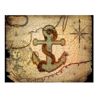 Coastal Beach Nautical Map vintage Anchor Postcard
