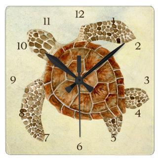 Coastal Beach Ocean Seashore Collage Sea Turtle Clock