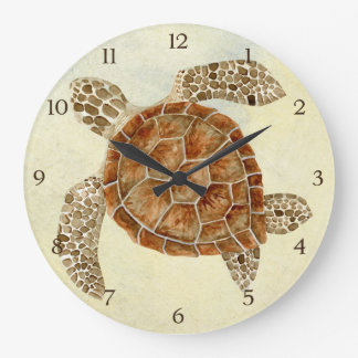 Coastal Beach Ocean Seashore Collage Sea Turtle Large Clock