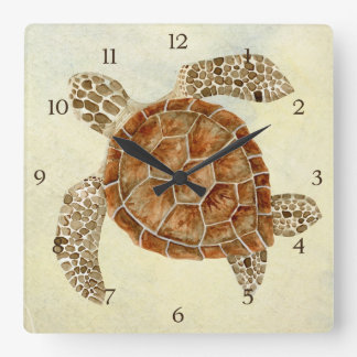 Coastal Beach Ocean Seashore Collage Sea Turtle Square Wall Clock