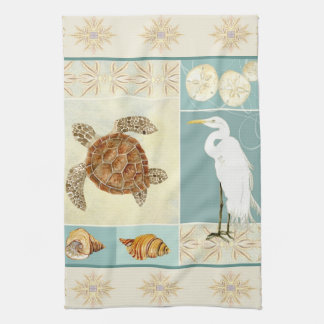 Coastal Beach Ocean Seashore Collage Sea Turtle Tea Towel