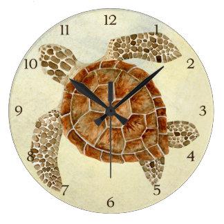 Coastal Beach Ocean Seashore Collage Sea Turtle Wallclock