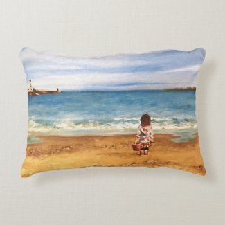 Coastal beach seascape impressionist art cushion