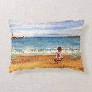 Coastal beach seascape impressionist art cushion
