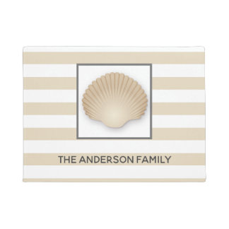 Coastal Beach Seashell, Stripes, & Family Name Doormat