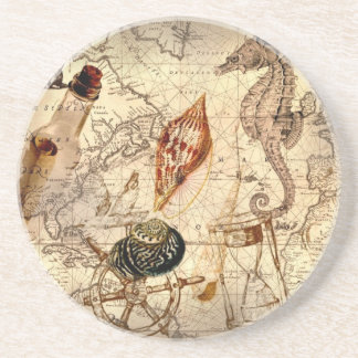 Coastal beach starfish seashell Nautical Map Coaster