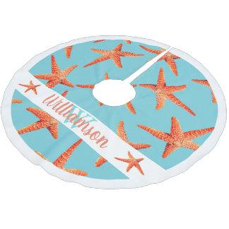 Coastal Beachy Red Starfish Cyan Blue Family Name Brushed Polyester Tree Skirt