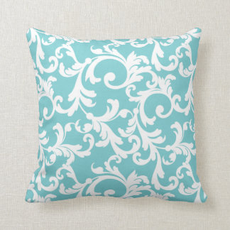 Coastal Blue Elegant Damask Cushion