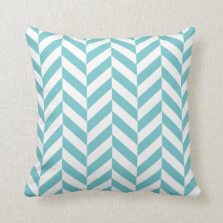 Coastal Blue Herringbone Print Cushion