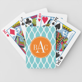 Coastal Blue Monogrammed Barcelona Print Poker Deck