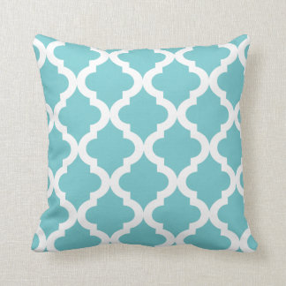 Coastal Blue Moroccan Quatrefoil Print Cushion