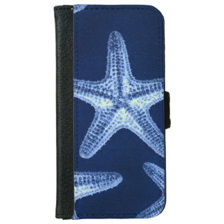 coastal chic beach rustic nautical blue starfish iPhone 6 wallet case
