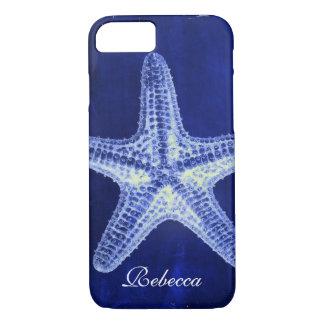 coastal chic beach rustic nautical blue starfish iPhone 8/7 case