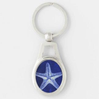 coastal chic beach rustic nautical blue starfish Silver-Colored oval key ring
