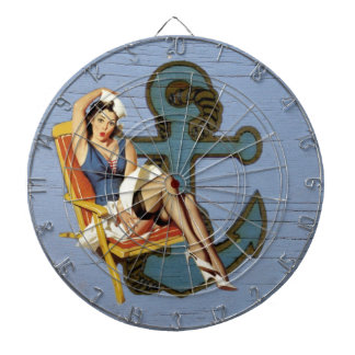 coastal Chic Nautical Anchor Pin Up Girl Sailor Dartboard