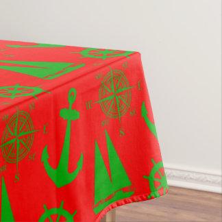 Coastal Christmas Nautical Pattern Tablecloth