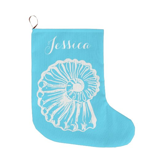 Coastal Christmas Nautilus Stocking