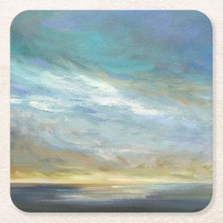 Coastal Clouds Square Paper Coaster
