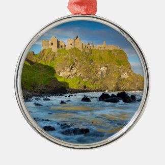 Coastal Dunluce castle, Ireland Silver-Colored Round Decoration