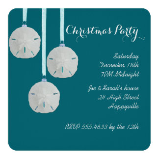 Coastal Holiday House Party Teal Invitation