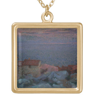 Coastal Landscape (oil on canvas) Gold Plated Necklace