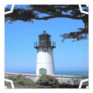 """Coastal Lighthouse  Invitation 5.25"""" Square Invitation Card"""