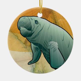 Coastal Manatee of Florida Christmas Ornament
