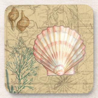Coastal Map Collage Coaster