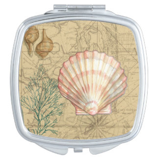 Coastal Map Collage Makeup Mirror