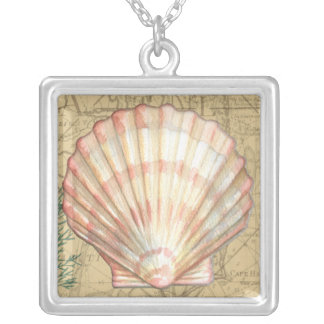 Coastal Map Collage Silver Plated Necklace