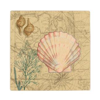 Coastal Map Collage Wood Coaster