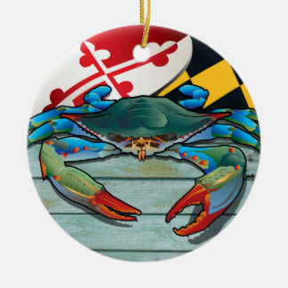 Coastal Maryland Blue Crab with Flag Christmas Ornament