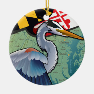 Coastal Maryland Blue Heron Christmas Ornament