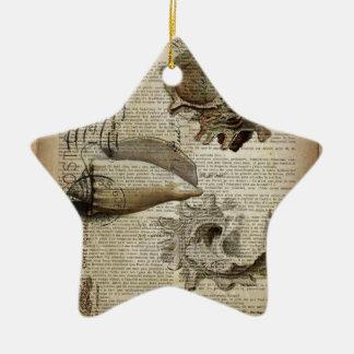 coastal modern vintage french botanical seashell christmas ornament