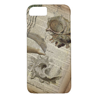 coastal modern vintage french botanical seashell iPhone 8/7 case