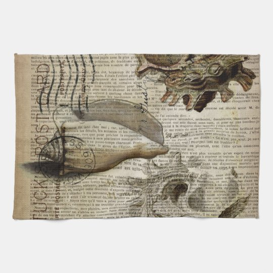 coastal modern vintage french botanical seashell tea towel