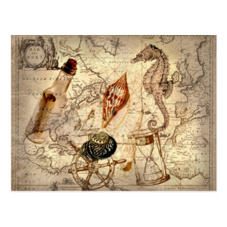 Coastal Nautical Map botanical seahorse seashell Postcard